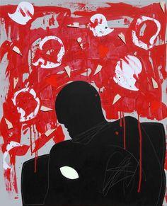 """andrea mattiello """"La notte"""" acrilico, collage e grafite su tela cm 80x100; 2013"""