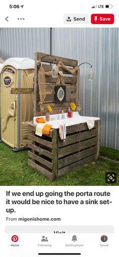 Migonis Home: Rustic Charm - less the porta potty Outdoor Sinks, Outdoor Bathrooms, Rustic Bathrooms, Wedding Guest Book, Farm Wedding, Rustic Wedding, Wedding Ideas, Trendy Wedding, Field Wedding