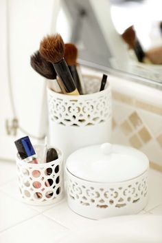 pretty makeup brush holders