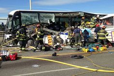The scene of a collision between a charter bus and a Ride The Duck tour vehicle on the Aurora Avenue Bridge in Seattle.