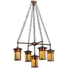 Amber mica craftsman chandelier craftsman chandeliers fulton prairie craftsman style five light chandelier aloadofball Image collections