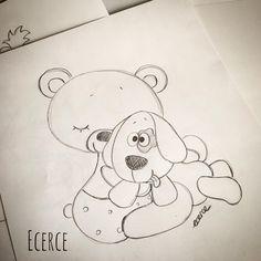 Gözlerini pörtletene kadar sarılmak...☺🖤 #keçe #felt #feltro #fieltro #feltdesign #craft #feltcraft #ecerce #tasarim #baby #bear #dog #working #çizim #desen Coloring Books, Coloring Pages, Stencil, Friend Birthday, Easy Drawings, Amazing Art, Images, Snoopy, Watercolor