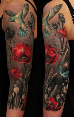 sleevve tattoo | Hummingbird, butterfly, and poppy sleeve tattoo cover up tattoo