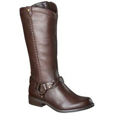 Women's Mossimo Supply Co. Erika Genuine Leather Studded Harness Boot - Brown