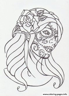 Print Sugar Skull Girl By Avengedginge D479m8o Coloring Pages
