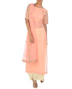 Blush Peach and Cream Yellow Palazzo Set
