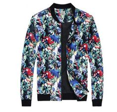 Fashion floral bird bomber jacket for men plus size