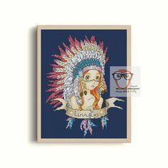 INDIAN cross stitch pattern native american cross stitch