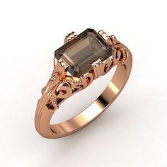 Emerald-Cut Smoky Quartz 14K Rose Gold Ring - lay_down