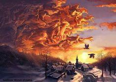 Wild Hunt: In Norse myth, the great God Odin rode an eight-legged white horse… Yule, Symbole Viking, Pagan Festivals, Winter Sky, Asatru, Norse Vikings, Wild Hunt, Norse Mythology, Russian Mythology