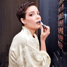 Exclusive: Halsey on Shaved Heads, Gray Lipstick, and Why She's Not a Cliché - Modern Undercut Hairstyles, Pixie Hairstyles, Hair Undercut, Wedding Hairstyles, Pixie Haircuts, Halsey Short Hair, Grey Lipstick, Curls, Short Hair