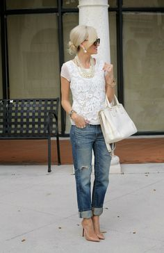 white lace blouse + pearls + boyfriend jeans + pumps