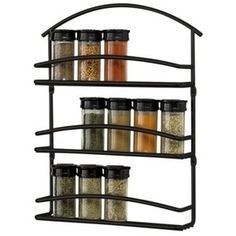 Wall Mount Spice Rack - Black