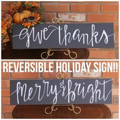 Reversible Holiday Sign Give Thanks Merry Bright Christmas Two Sided Framed Wood Fall Decor