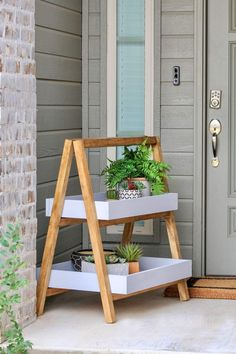 Home Interior De Mexico Modern A-Frame Plant Stand - Outdoor Projects, Wood Projects, Diy Plant Stand, Outdoor Plant Stands, Small Plant Stand, Modern Plant Stand, Diy Planters, Stone Planters, Succulent Planters