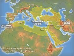 Map of the Ottoman Empire, late 1600s. Territory includes muslim holy cities of Mecca and Medina.