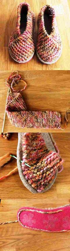 Granted this is a knitting pattern, but I could totally crochet a strip and do this! Crochet Shoes, Knit Or Crochet, Crochet Crafts, Yarn Crafts, Freeform Crochet, Sewing Crafts, Sewing Ideas, Crochet Edgings, Crochet Dresses