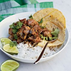 Pork-and-Green-Chile Stew - Pork shoulder is tender and tasty in this pepper-rich stew.