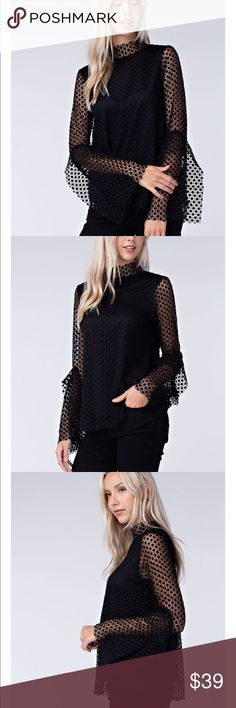 MOCK NECK BLOUSE LACE OVERLAY FLARED BELL SLEEVE MOCK NECK BLOUSE WITH LINING. Tops Blouses