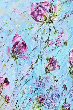 Flowers in my garden at sunset. Oil Painting on Canvas by Palette Knife. Wild colorful flowers blue pink sunset 24'х20. By Matkina Marina