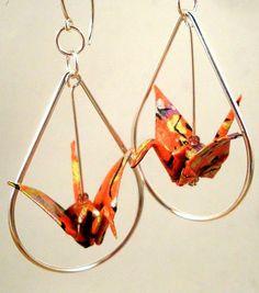 Origami crane earrings. Gorgeous.