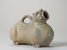 A 'Yue' celadon-glazed figural vessel, Western Jin dynasty