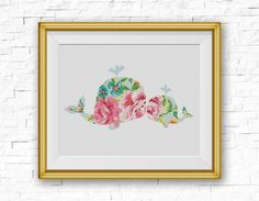 BOGO FREE! Whale Cross Stitch Pattern, Floral Baby Whale Flowers Counted Cross Stitch, Marine mammals, Modern Decor, PDF Download #025-28 by StitchLine on Etsy