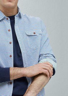 Slim-fit cotton seersucker shirt - Man