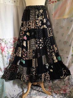 MEDIUMLARGE Skirt Flowerchild Hippie Boho Bohemian Full Long Cotton Blue WhiteTiered Tie Dyed and Lace Skirt