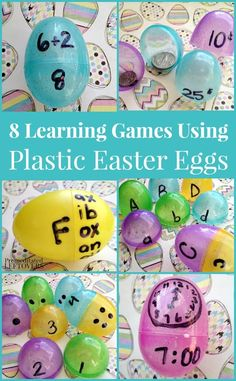 These Learning Games Using Plastic Easter Eggs are fun ways to introduce new skills and reinforce reading and math concepts to kids. 8 educational games using plastic Easter Eggs that you can use to help your child master math and reading skills. Easter Activities, Learning Activities, Kids Learning, Activities For Kids, Learning Games For Preschoolers, Educational Activities, Plastic Easter Eggs, Easter Egg Crafts, Easter