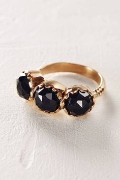 Rosecut Onyx Trinity Ring in 14k Rose Gold by Arik Kastan | Pinned by topista.com