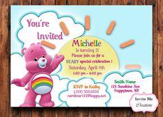 Care Bear Birthday Invitation Bear Invite Sun by InviteMeCreations