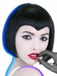 forma włosów: proste-krótkie kolor włosów: czarne kontur włosów: wewnętrzny podkreślający