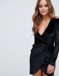 Buy Boohoo velvet tie side mini dress in black at ASOS. With free delivery and return options (Ts&Cs apply), online shopping has never been so easy. Get the latest trends with ASOS now. Bardot Midi Dress, Pleated Midi Dress, Nye Outfits, New Years Eve Outfits, Trendy Dresses, Nice Dresses, Black Sparkly Dress, Tux Dress, Asos