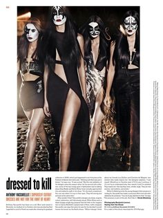 Dressed to Kill – Pauline Van Der Cruysse, Cate Underwood, Nikole Luna and Amanda Ware play a female version of iconic rock band, Kiss, for the music issue of V Magazine. Captured by Benjamin Lennox and styled by Tom Van Dorpe, the quartet dons the sleek and sexy designs of designer Anthony Vaccarello with painted faces. / Hair by Akki, Make Up by Ralph Siciliano