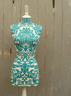 Vibrant Turquoise Damask Display Mannequin