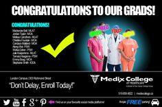 Here at Medix College London Campus we love to celebrate the success of our students. As such, we'd like to share that the following people have recently begun their new careers:  Mackenzie Bell - MLAT Jordan Taylor - MOA Melissa Carruthers - MLAT Christina Fountain - MOA Candace Maitland - MOA Atong Wal - PSW Wafaa Daher - PSW Julie Kaspersma - MLAT Tamara Haagsma - PSW Emma Boug - MOA Stephanie Smith - IODA  Congratulations to all and all the best in their new careers! #career…
