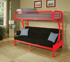 """Eclipse Red Metal Youth T/F Futon Bunk Bed  02091W-RD $230  Features :  Red color  Metal """"C"""" shape sturdy construction  It consists of two panel beds  Arched crown of headboard and foot board Mattress not included Dimensions :  T/F Futon Bunk Bed :  78"""" x 41"""" x 65""""H"""