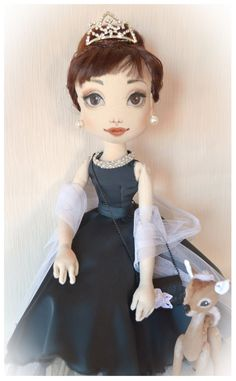 Audrey Hepburn with fawn. Textile handmade doll made от Elenadolls