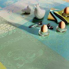 Love the color!  NAPPE LES POULES SPRING 115X115CM, Nappes : Garnier Thiebaut, linge de maison
