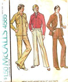 Suit Sewing Patterns for Men | Vintage Sewing Pattern Mens Leisure Suit 1970s American Hustle McCalls ...