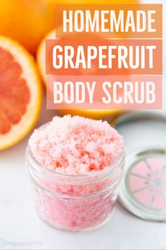 One of my favorite things to make with my daughter is this homemade sugar body scrub.This Homemade Grapefruit Body Scrub is made with ingredients so clean that you could eat it! #BodyScrub #DIYIdeas #AprilGolightly