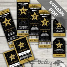 Hollywood Party Invitations. Free Hollywood Party VIP Passes