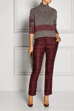 Tory Burch Drew Dark Plum Tweed Tuxedo Stripe Pants Trouser - Size 4 for sale online Casual Fall Outfits, Office Outfits, Work Outfits, Blazer Fashion, Sweater Fashion, Tuxedo Stripe Pants, Knitwear Fashion, Work Wardrobe, Straight Leg Pants