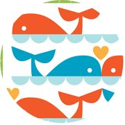 Dan Stiles Marine For Birch Fabrics 100% Organic Whale Love