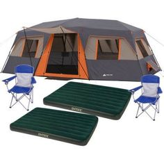 OzarkTrail 9-Person Cabin Tent with 2 Bonus Queen Airbeds Bundleu2026 | Art Decor And More | Pinterest | Cabin tent  sc 1 st  Pinterest : ozark trail 12 person cabin tent - memphite.com