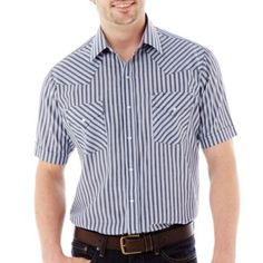Ely Cattleman Short-Sleeve Stripe Snap Shirt-Big & Tall  found at @JCPenney