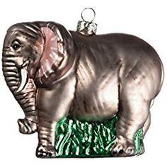 Elephant Christmas Ornament Grey Elephant Glass