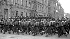 On parade in Krakow before the war.