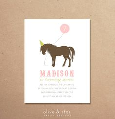 Pony party invitation by OliveandStar paper designs on etsy.com Many colors available.